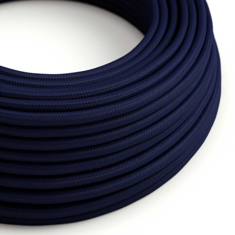 Round Electric Cable covered by Rayon solid color fabric RM20 Dark Blue