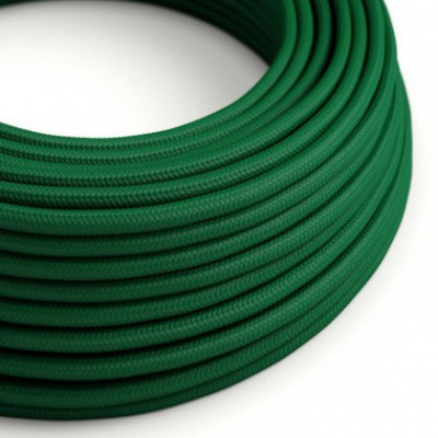 Round Electric Cable covered by Rayon solid color fabric RM21 Dark Green