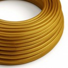 Round Electric Cable covered by Rayon solid color fabric RM05 Gold