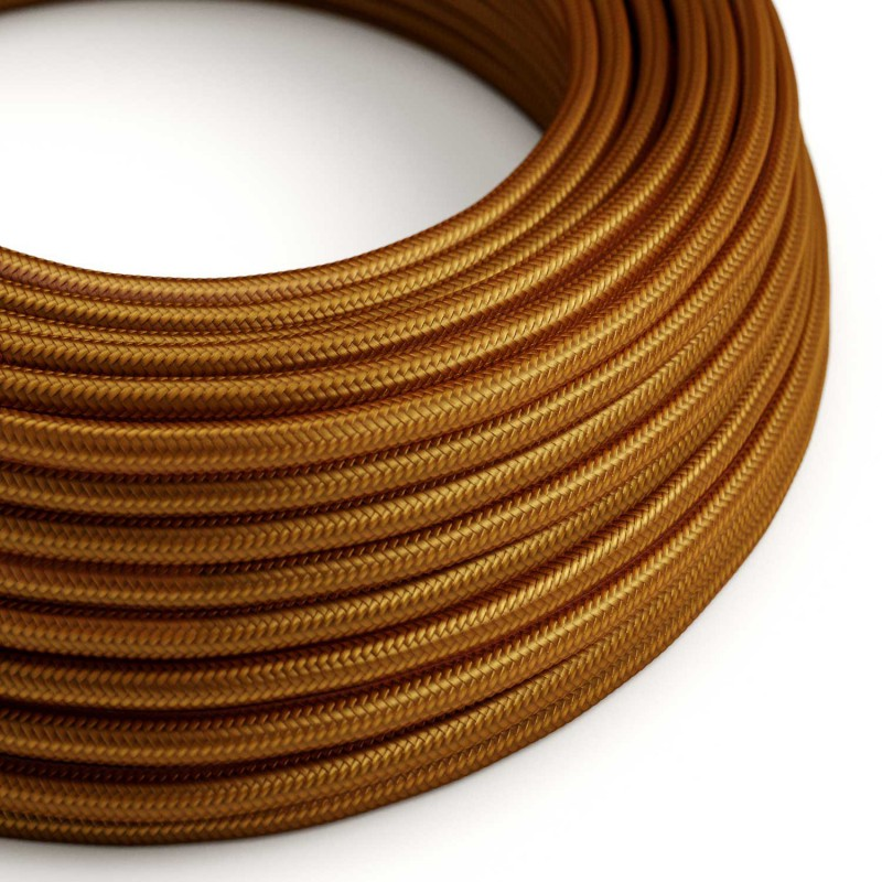 Round Electric Cable covered by Rayon solid color fabric RM22 Whiskey
