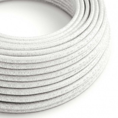 Round Glittering Electric Cable covered by Rayon solid color fabric RL01 White