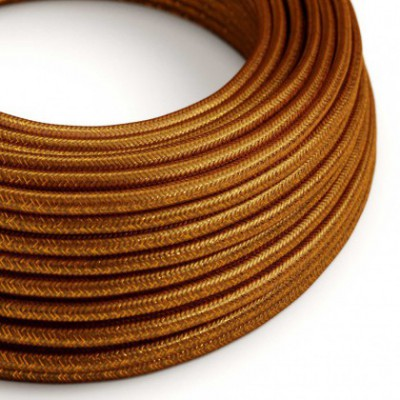 Round Glittering Electric Cable covered by Rayon solid color fabric RL22 Copper
