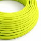 Round Electric Cable covered by Rayon solid color fabric RF10 Fluo Yellow