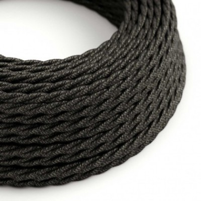 Twisted Electric Cable covered by Natural Linen TN03 Anthracite
