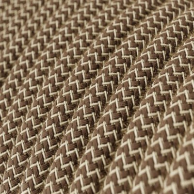 Round Electric Cable covered by Colored Bark ZigZag Cotton and Natural Linen RD73