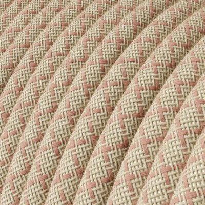 Round Electric Cable covered by Ancient Pink Lozanga Cotton and Natural Linen RD61