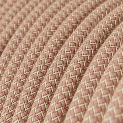 Round Electric Cable covered by Ancient Pink ZigZag Cotton and Natural Linen RD71