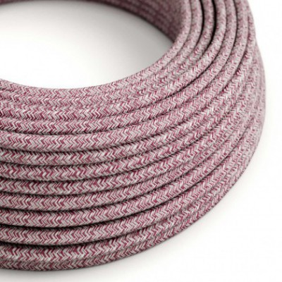 Round electric cable covered by Burgundy Tweed Cotton, Natural Linen and finishing Glitter RS83