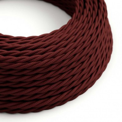 Twisted Electric Cable covered by solid silk effect fabric TM19 Burgundy