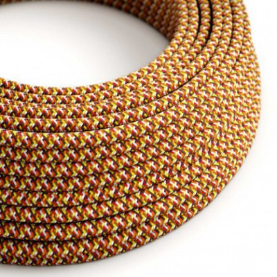Round Electric Cable covered by rayon fabric RX01 Pixel Orange