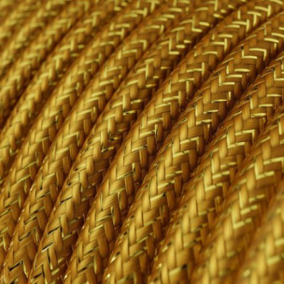 Round Glittering Electric Cable covered by Rayon solid color fabric RL05 Gold