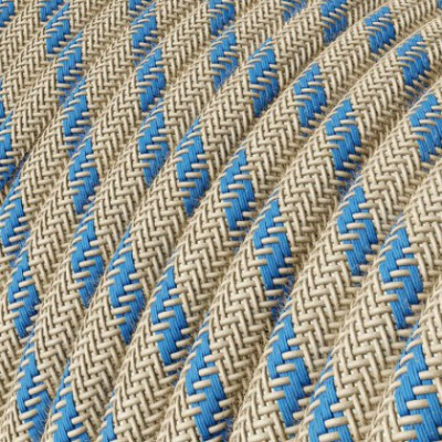 Round Electric Cable covered by Steward Blue Stripes Cotton and Natural Linen RD55