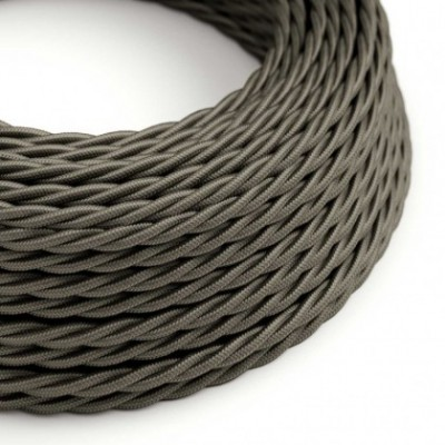 Twisted Electric Cable covered by Rayon solid color fabric TM26 Dark Gray