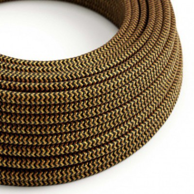 Round Electric Cable covered in Rayon - ZigZag Gold and Black RZ24