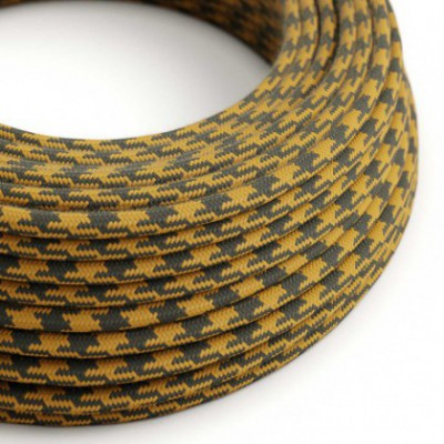 Round Electric Cable covered in Cotton - Bicoloured Golden Honey and Anthracite RP27