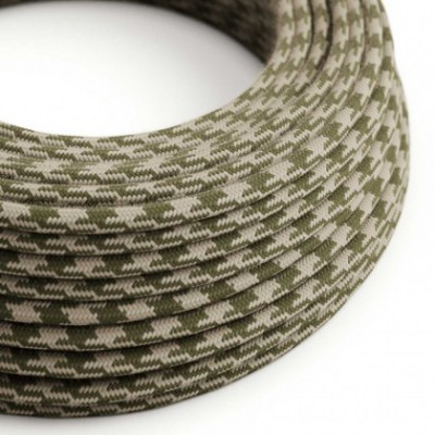 Round Electric Cable covered in Cotton - Bicoloured Thyme Green and Dove RP30