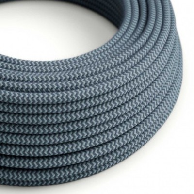 Round Electric Cable covered in Cotton - ZigZag Stone Grey and Ocean RZ25