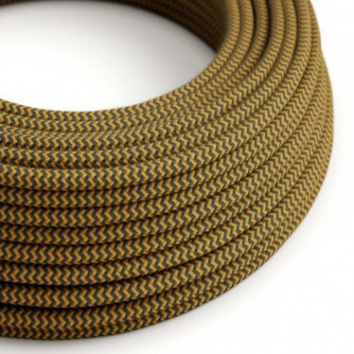Round Electric Cable covered in Cotton - ZigZag Golden Honey and Anthracite RZ27