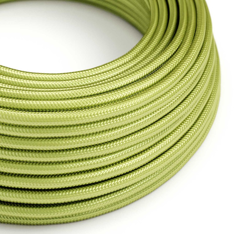 Round Electric Cable covered in Rayon solid color fabric - RM32 Kiwi