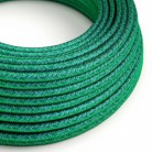 Round Electric Cable covered in Rayon solid color fabric - RM33 Emerald