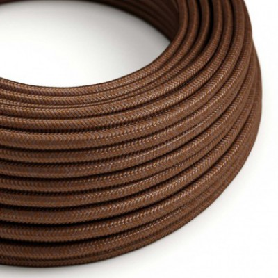 Round Electric Cable covered in Rayon solid color fabric - RM36 Rust