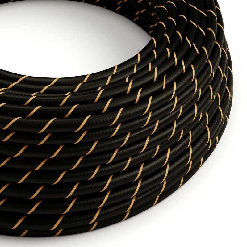 Round Electric Vertigo HD Cable covered by Black and Gold fabric ERM42