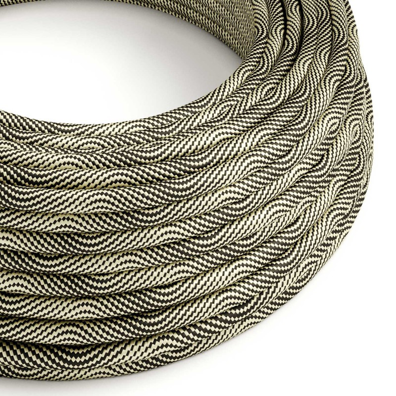 Round Electric Vertigo HD Cable covered by Optical Black and Gold fabric ERM65