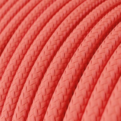 Round Electric Cable covered by Rayon solid color fabric RF08 Fuchsia