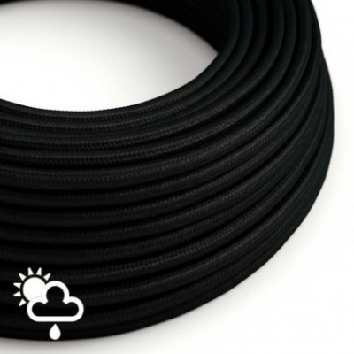 Outdoor round electric cable covered in Black Rayon SM04