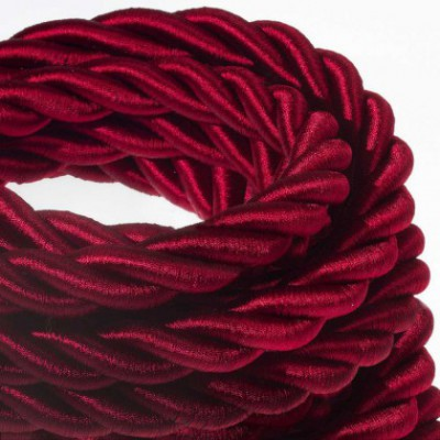 2XL electrical cord, electrical cable 3x0,75. Shiny dark bordeaux fabric covering. Diameter 24mm.