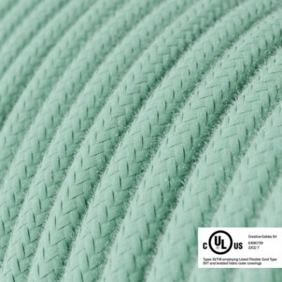 Round Electric Cable 150 ft (45,72 m) coil RC34 Milk and Mint Cotton - UL listed