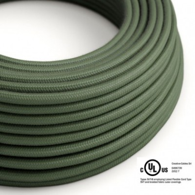 Round Electric Cable 150 ft (45,72 m) coil RC63 Green Grey Cotton - UL listed