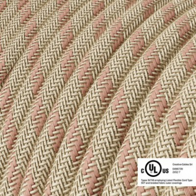 Round Electric Cable 150 ft (45,72 m) coil RD51 Stripes Ancient Pink Cotton and Natural Linen - UL listed