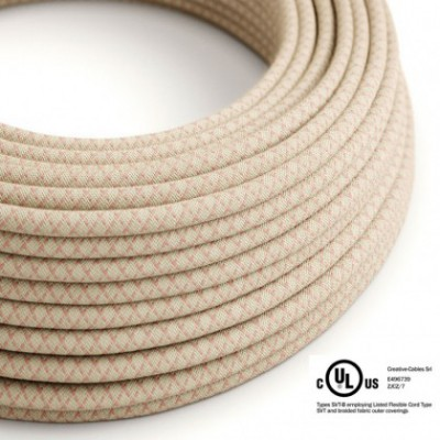 Round Electric Cable 150 ft (45,72 m) coil RD61 Lozenge Ancient Pink Cotton and Natural Linen - UL listed