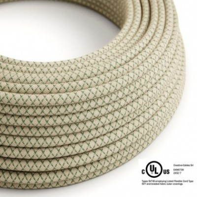 Round Electric Cable 150 ft (45,72 m) coil RD62 Lozenge Green Thyme Cotton and Natural Linen - UL listed