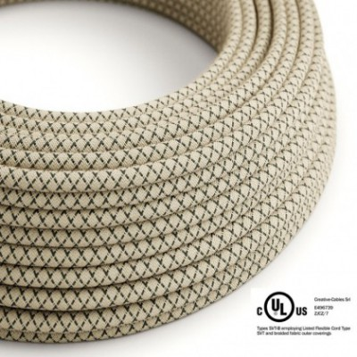 Round Electric Cable 150 ft (45,72 m) coil RD64 Lozenge Anthracite Cotton and Natural Linen - UL listed