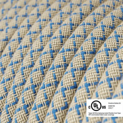 Round Electric Cable 150 ft (45,72 m) coil RD65 Lozenge Steward Blue Cotton and Natural Linen - UL listed