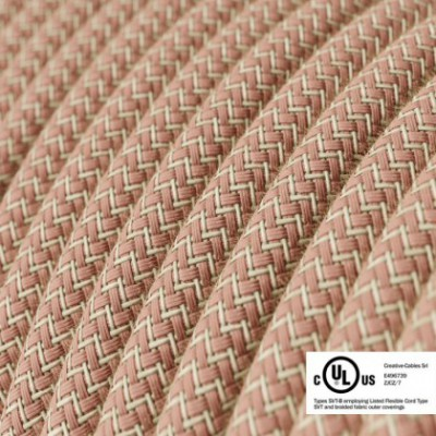 Round Electric Cable 150 ft (45,72 m) coil RD71 ZigZag Ancient Pink Cotton and Natural Linen - UL listed