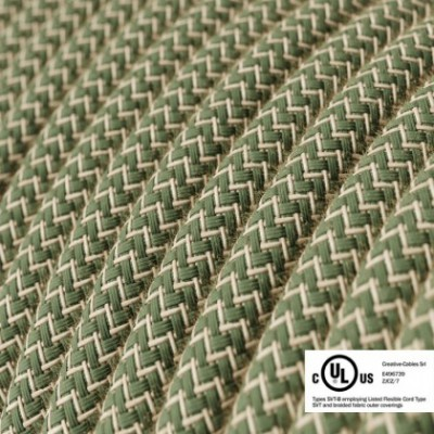 Round Electric Cable 150 ft (45,72 m) coil RD72 ZigZag Green Thyme Cotton and Natural Linen - UL listed