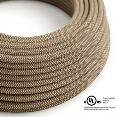 Round Electric Cable 150 ft (45,72 m) coil RD73 ZigZag Bark Cotton and Natural Linen - UL listed