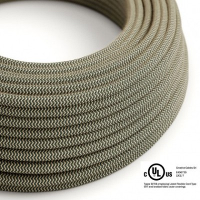 Round Electric Cable 150 ft (45,72 m) coil RD74 ZigZag Anthracite Cotton and Natural Linen - UL listed