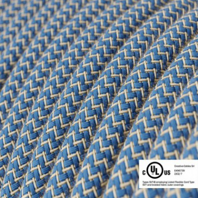 Round Electric Cable 150 ft (45,72 m) coil RD75 ZigZag Steward Blue Cotton and Natural Linen - UL listed