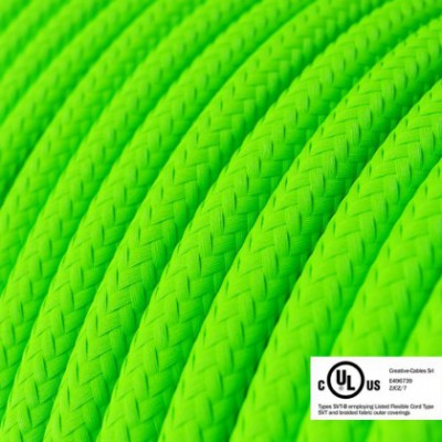 Round Electric Cable 150 ft (45,72 m) coil RF06 Green Fluo Rayon - UL listed