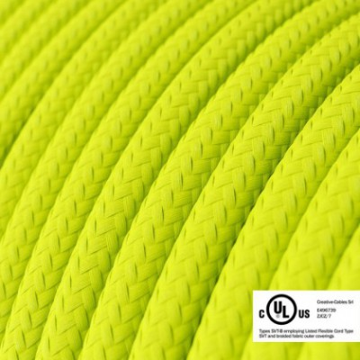 Round Electric Cable 150 ft (45,72 m) coil RF10 Yellow Fluo Rayon - UL listed