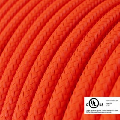 Round Electric Cable 150 ft (45,72 m) coil RF15 Orange Fluo Rayon - UL listed