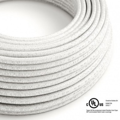 Round Electric Cable 150 ft (45,72 m) coil RL01 Glittering White Rayon - UL listed