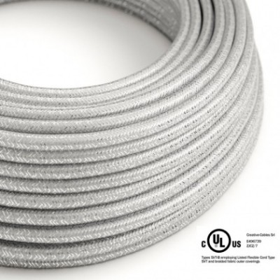 Round Electric Cable 150 ft (45,72 m) coil RL02 Glittering Silver Rayon - UL listed