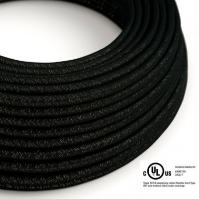Round Electric Cable 150 ft (45,72 m) coil RL04 Glittering Black Rayon - UL listed
