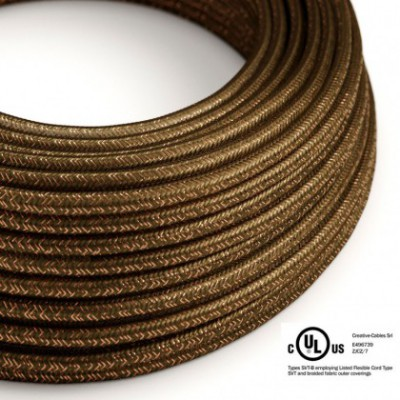 Round Electric Cable 150 ft (45,72 m) coil RL13 Glittering Brown Rayon - UL listed