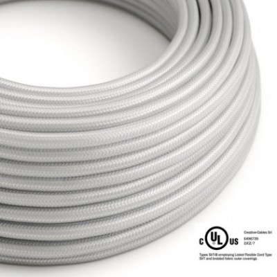 Round Electric Cable 150 ft (45,72 m) coil RM02 Silver Rayon - UL listed